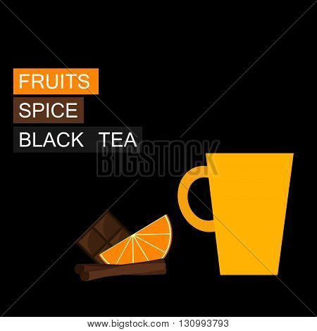 Black tea, orange slice, cinnamon. Vector illustration. Background.