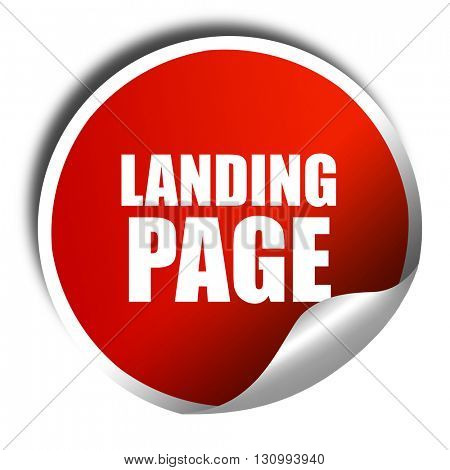 landing page, 3D rendering, red sticker with white text