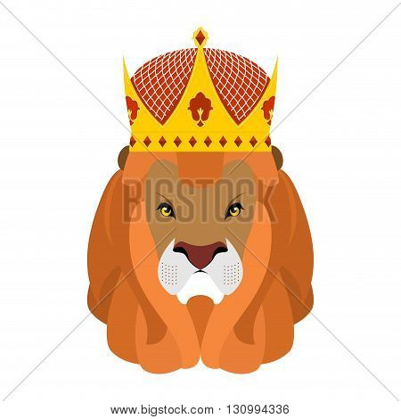 Lion King And Crown. Head Of A Predator With Shaggy Mane And Royal Headdress. Wild Cruel Animal Sava