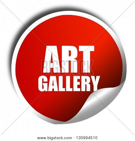 art gallery, 3D rendering, red sticker with white text