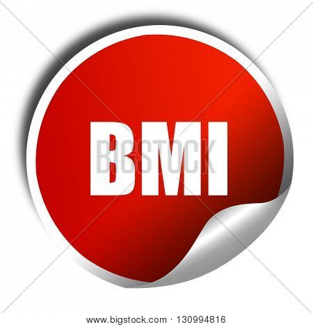 bmi, 3D rendering, red sticker with white text