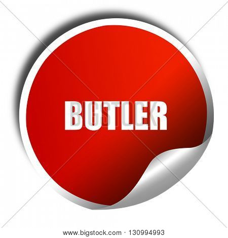 butler, 3D rendering, red sticker with white text