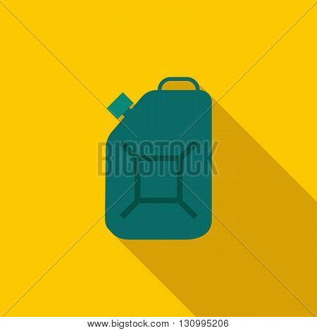 Green fuel canister icon in flat style on a yellow background