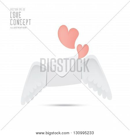 Illustration envelope with wings like Cupid Sending love and heart.