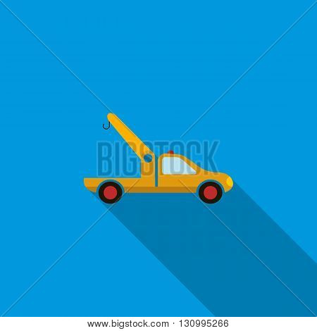 Car towing truck icon in flat style on a blue background