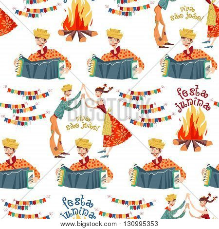 Brazilian holiday Festa Junina (the June party). Seamless background pattern. Vector illustration