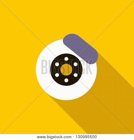 Brake disk icon in flat style on a yellow background