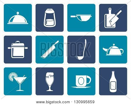 Flat Restaurant, cafe, food and drink icons - vector icon set