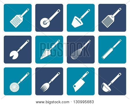 Flat different kind of kitchen accessories and equipment icons - vector icon set