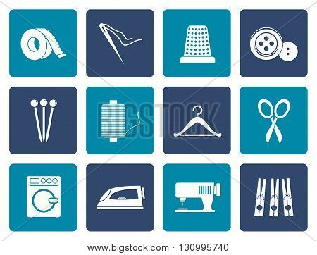 Flat Textile objects and industry icons - vector icon set