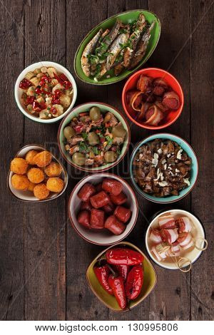 Spanish tapas, cold buffet or appetizer food as served in bars