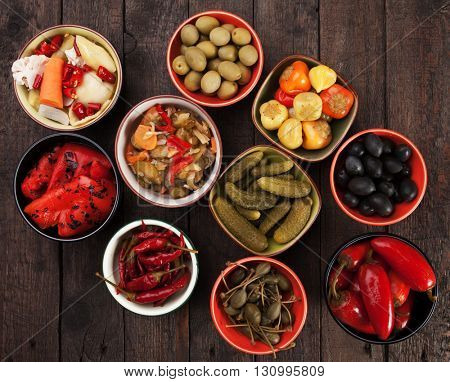 Pickled cucumber, olives and vegetables served as tapas or mezze