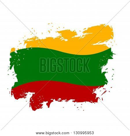 Lithuania Flag Grunge Style On White Background. Brush Strokes And Ink Splatter. National Symbol Of