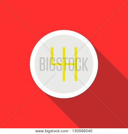 Gearbox schematics icon in flat style on a red background