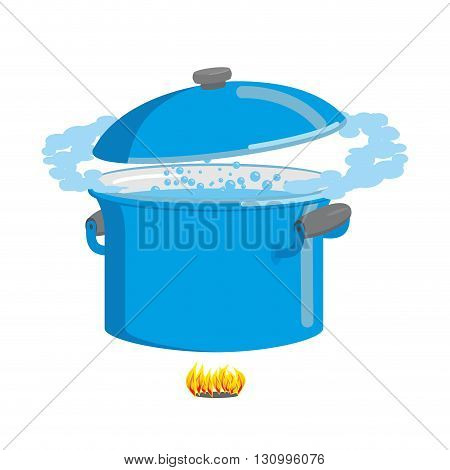 Boiling Pot Of Water. Cookware For Cooking