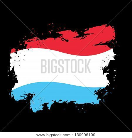 Luxembourg Flag Grunge Style On Black Background. Brush Strokes And Ink Splatter. National Symbol Of