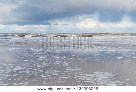 North sea coast during rainy day Zandvoort Netherlands
