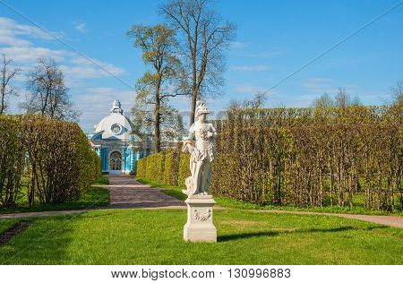 Garden sculpture in the alley of the Catherine Park in Tsarskoye Selo in St. Petersburg