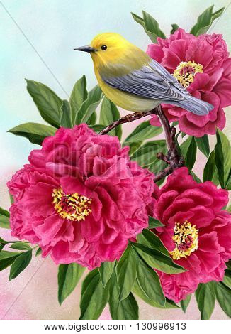 yellow bird on a branch of tree peonies
