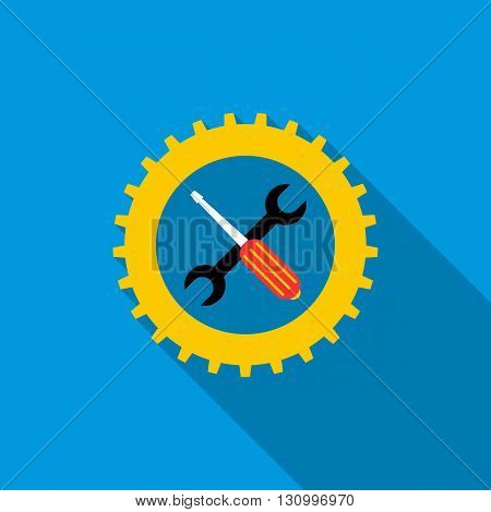 Gear wheel, wrench, and screwdriver icon in flat style on a blue background