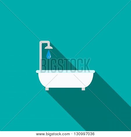 Bathtub with shower icon in flat style on a turquoise background