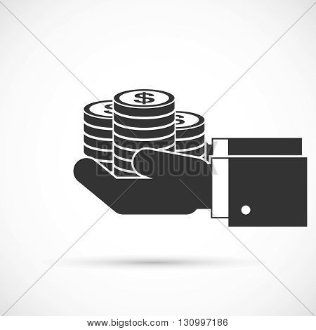 Hands holding coins. Stack of coins in hand