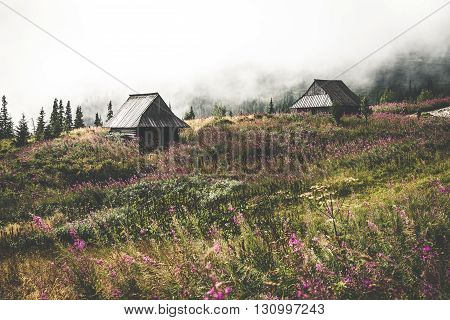 Old huts in Tatra Mountains National Park Poland