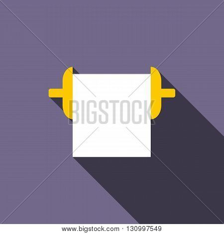 Roll paper towel icon in flat style on a violet background