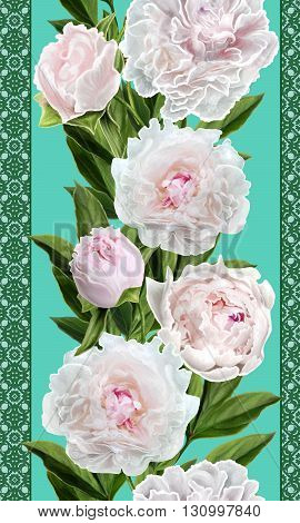 Vertical floral border. Pattern seamless. Flower garland of white peonies.
