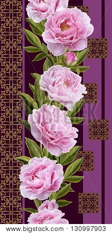 Vertical floral border. Pattern seamless. Flowers pink peonies.