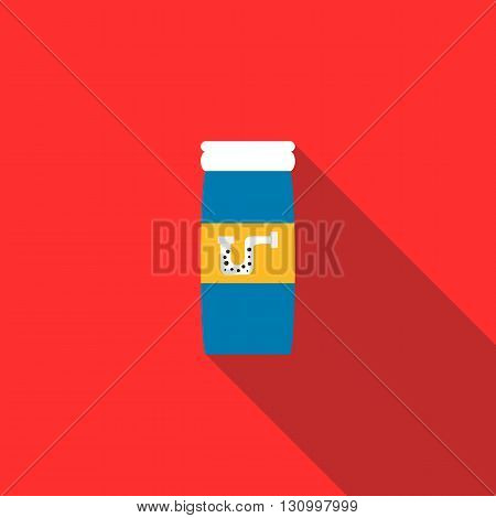Chemical agent used to unclog pipes icon in flat style on a red background