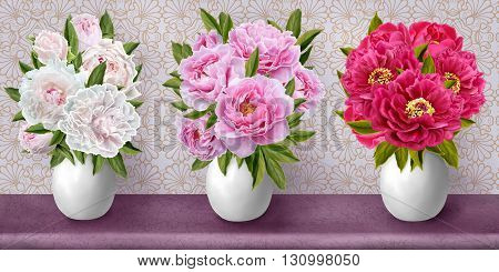 Horizontal floral border. Pattern seamless. Bouquet of peonies in a vase. Peonies are white pink red.