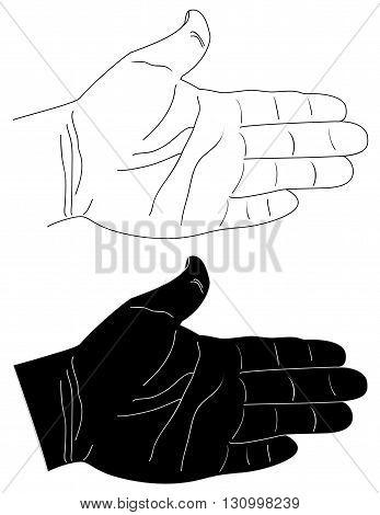 Handpainted open hand in EPS 8 format