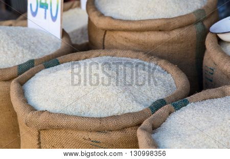 Rice In Sacks In Front Of A Business In Hua Hin