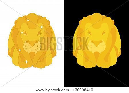 Gold Lion. Predators Head With Mane Of Yellow Golden Precious Metal. Treasure Animal Figurine
