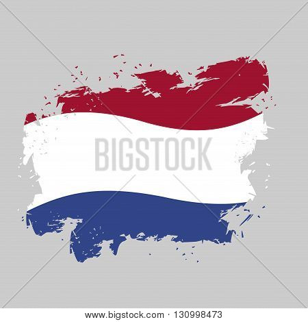 Netherlands Flag Grunge Style On Gray Background. Brush Strokes And Ink Splatter. National Symbol Of