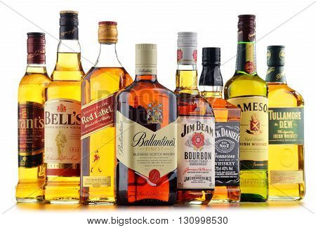 POZNAN POLAND - MAY 17 2016: Whiskey is the most popular liquor in the world. Originated probably in Ireland now it is produced also in India Scotland USA Canada and Japan with over 230 millions of 9 liter cases sold in 2014