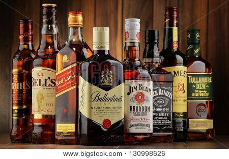 Bottles Of Several Whiskey Brands From Usa, Ireland And Scotland