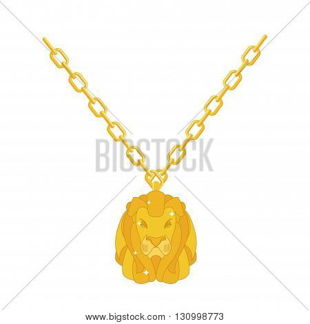 Golden Lion Necklace Gold Jewelry On Chain. Expensive Jewelry. Wild Animal Of Precious Yellow Metal.