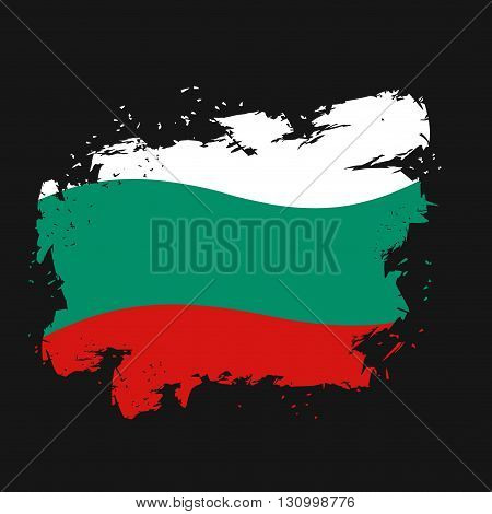 Bulgaria Flag Grunge Style On Black Background. Brush Strokes And Ink Splatter. National Symbol Of B