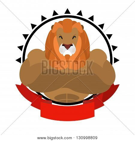 Lion Athlete Round Emblem. Big Wild Animal With Shaggy Mane. Beasts Of Prey With Big Muscles. Logo F