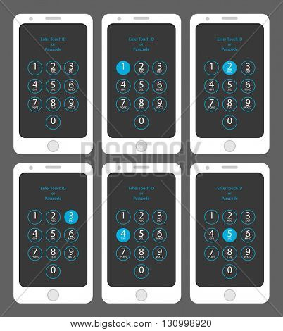 Smartphone Enter Touch ID or Passcode One, Two, Three, Four, Five, Vector Illustration