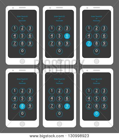 Smartphone Enter Touch ID or Passcode Six, Seven, Eight, Nine, Zero, Vector Illustration