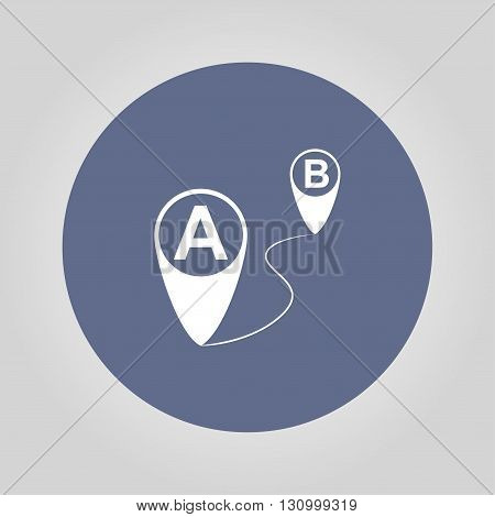 Map pointer flat icon vector illustration. Flat design style.