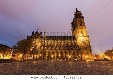 Magdeburg Cathedral at sunset. Magdeburg, Lower Saxony, Germany.