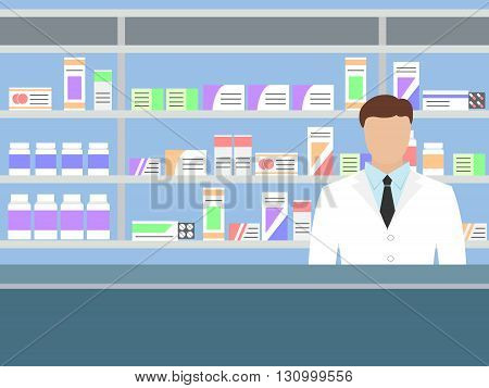 Male pharmacist with beard standing near shelves with medications, vector illustration