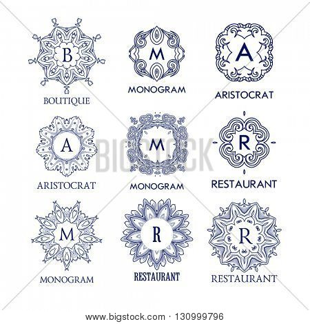 Set of luxury, simple and elegant blue monogram design templates. Good for labels and logos. Vector illustration.  Monogram design. Isolated on white.
