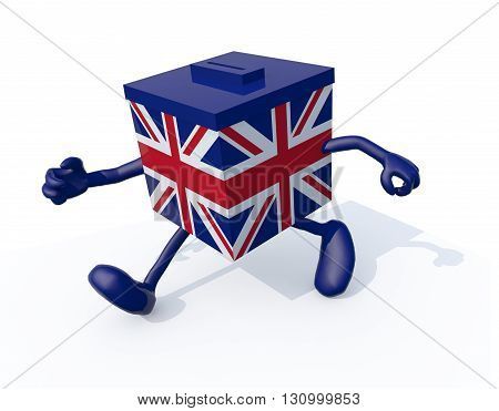 Ballot Box With British Flag And Arms And Legs