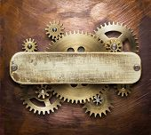Clockwork mechanism collage on copper background made of metal gears, brass plate. poster