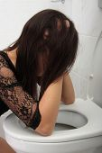 foto of vomiting  - Young woman in elegant dress vomiting - JPG